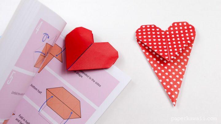 cách gấp bookmark hình trái tim bằng giấy origami