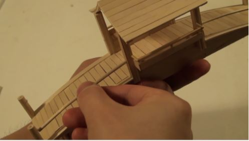 cách làm cây cầu tre bằng que kem gỗ