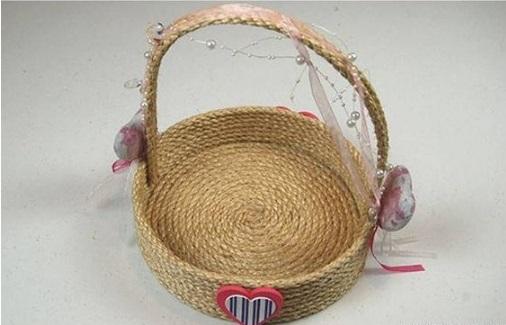 cách làm giỏ hoa bằng dây thừng
