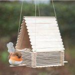 Cách làm nhà ăn cho chim bằng que kem gỗ