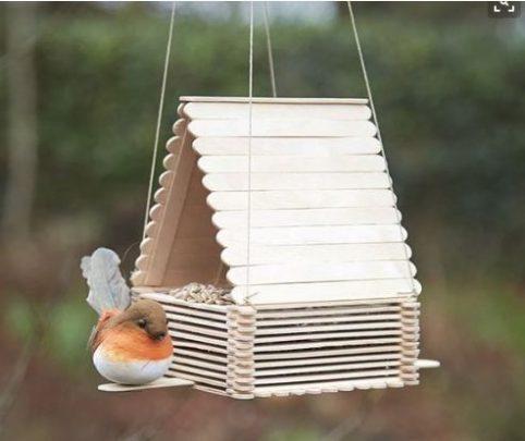 cách làm nhà cho chim bằng que kem gỗ