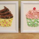 Hướng dẫn làm tranh cupcake từ cúc áo