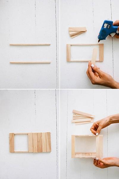 cách làm bình hoa gỗ từ que kem