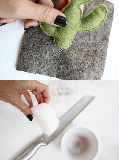 làm chậu cây xương rồng bằng vải nỉ