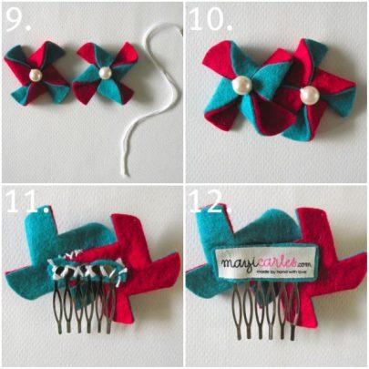 cách làm kẹp tóc bằng vải nỉ