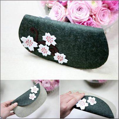 cách may ví cầm tay hoa đào từ vải
