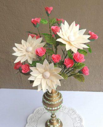 cách làm hoa hồng giả bằng giấy xốp