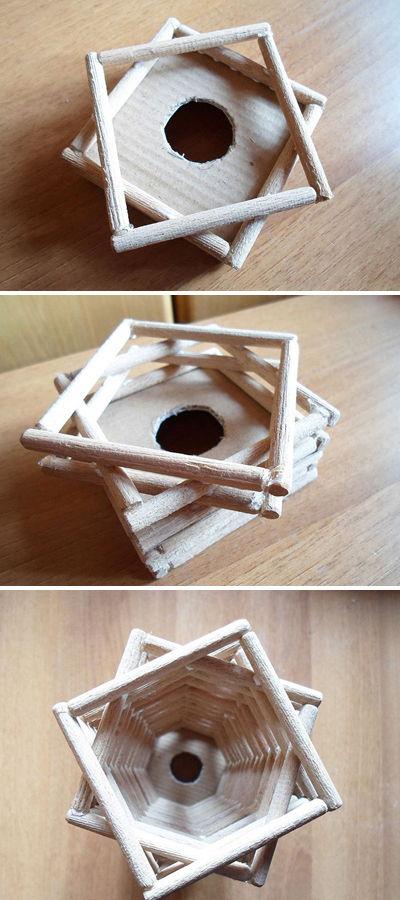 làm đèn trang trí nhà bằng que gỗ