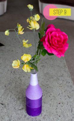 làm bình hoa quấn len xinh xắn
