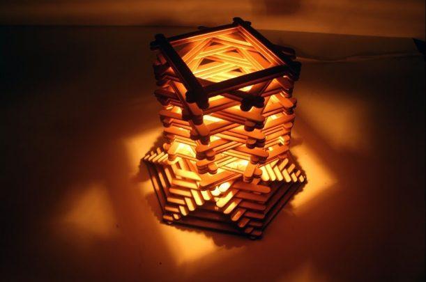 làm đèn ngủ bằng que kem gỗ