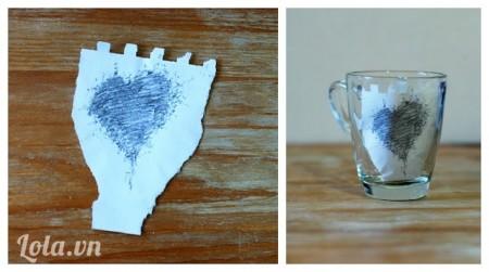 vẽ trang trí cốc thủy tinh trái tim