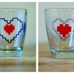 Cách trang trí hình trái tim cho cốc thủy tinh