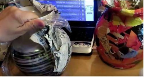 cách làm bình hoa từ giấy báo và keo sữa