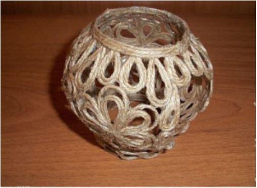 cách làm bình trà bằng dây thừng