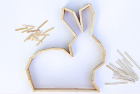 cách làm chú thỏ bằng que kem gỗ