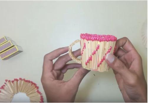 cách làm cốc cafe bằng que diêm