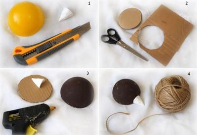 cách làm con nhím bằng dây thừng và cà phê