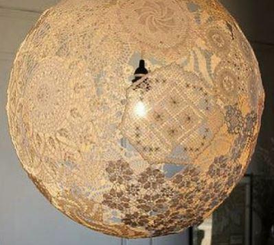 cách làm đèn treo bằng vải ren