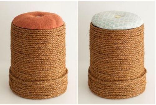 cách làm ghế từ thùng nhựa và dây thừng