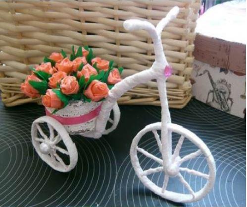 cách làm xe đạp chở hoa bằng ống giấy