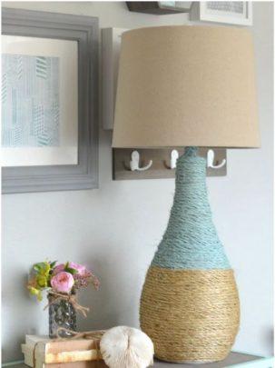 cách trang trí đèn để bàn bằng dây thừng