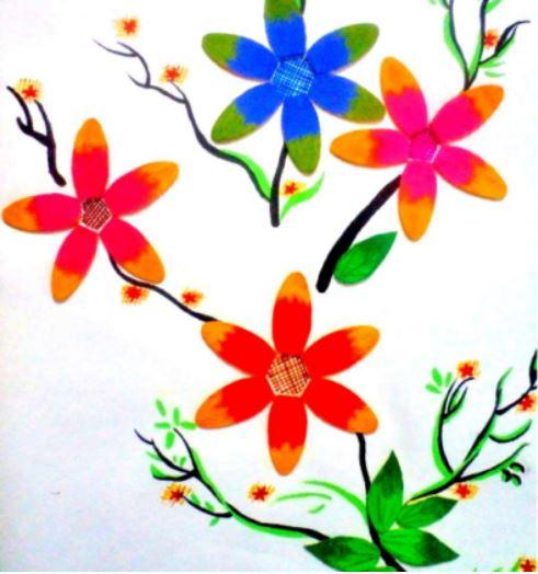 làm bức tranh hoa bằng que kem gỗ