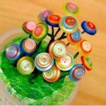Hướng dẫn làm chậu hoa từ cúc áo handmade