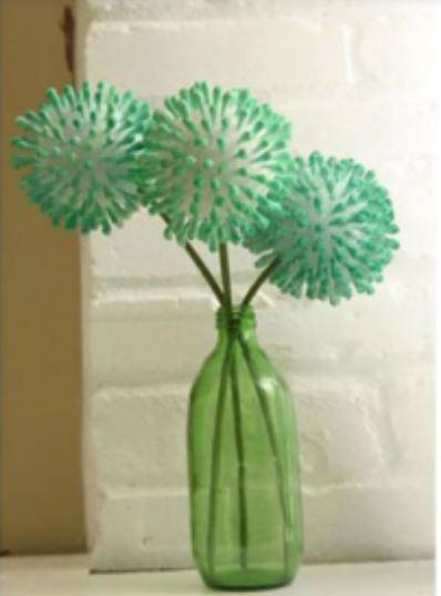 làm hoa bồ công anh bằng tăm bông