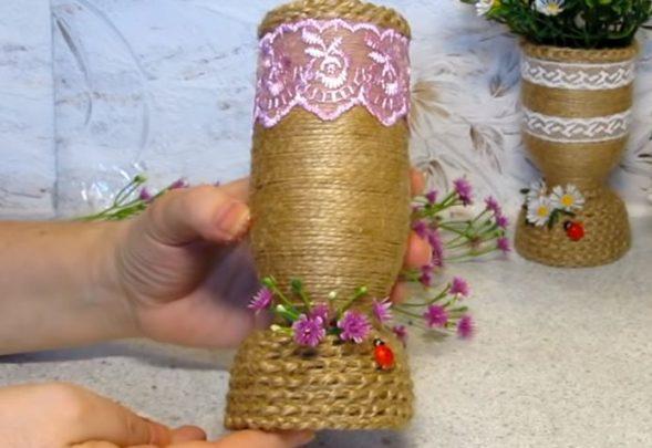 làm lọ hoa chai nhựa bằng dây thừng
