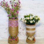 Hướng dẫn làm lọ cắm hoa chai nhựa bằng dây thừng