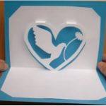 Hướng dẫn làm thiệp trái tim 3D đính bồ câu trắng