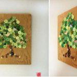 Hướng dẫn làm tranh cây đơn giản từ cúc áo
