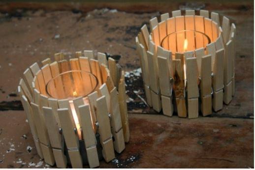 trang trí đèn thắp nến bằng kẹp gỗ
