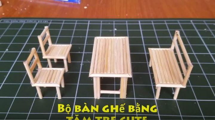 cách làm bộ bàn ghế tăm tre