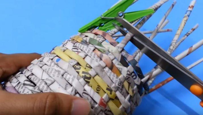 cách làm giỏ từ giấy báo