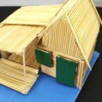 Hướng dẫn làm nhà mái tranh bằng tăm que đơn giản