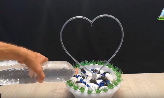 cách làm thác nước chảy hình trái tim