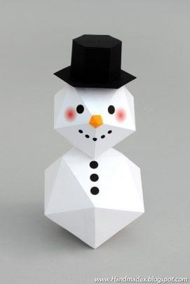 cách làm người tuyết từ giấy
