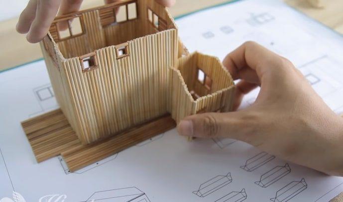 làm nhà biệt thự nobita bằng tăm tre