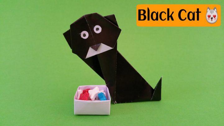 cách làm chú mèo màu đen từ giấy